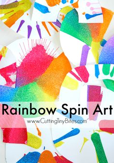 Rainbow Spin Art. Fun process art painting craft for toddlers, preschoolers, or elementary kids.