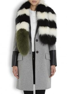Monochrome striped fur scarf