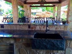 south texas outdoor kitchen and pool complex