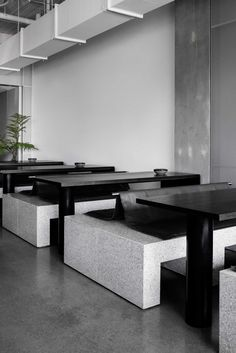This minimalist cafe features a series of concrete elements as serving counters, perforated aluminium screens, and terrazzo plinths that form the seating. Cafe Interior Design, Cafe Design, Interior Design Inspiration, Design Art, Simple Interior, Hotel Restaurant, Restaurant Design, Restaurant Interiors, Cafe Interiors