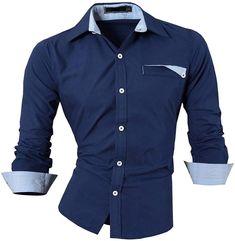 e0def23b Jeansian Hombre Camisas Moda Manga Larga Men Fashion Slim Fit Casual Long  Sleeves Shirts 8522 DarkBlue