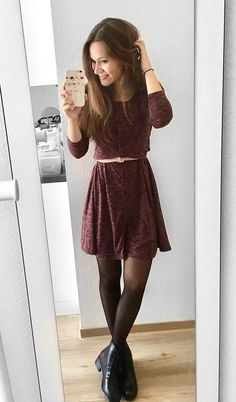 Gorgeous look by Jacqui in her burgundy button-front melange knit dress. #LBSDaily