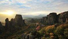 The Meteora tour starts from Kalambaka a town in the shadow of Meteora as if it has roots in those rocks. You will see the spectacular rocks of Meteora which house very old Byzantine monasteries My Athens, Full Hd Pictures, Byzantine, Monument Valley, Greece, Tours, Mountains, Travel, Greece Country