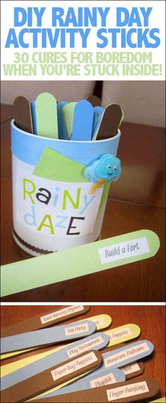 Rainy Daze Activity Sticks - How to Nest for Less™ Rainy Daze activity sticks. 30 ideas for your kiddos to do on a rainy day. or snowy day. or any time! Rainy Day Activities For Kids, Rainy Day Fun, Rainy Day Crafts, Winter Activities, Toddler Activities, Craft Activities, Indoor Activities, Rainy Day Games, Activity Ideas