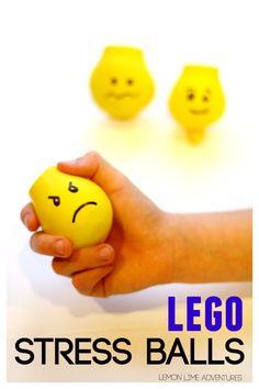 Lego Stress Balls   Awesome DIY stress balls with a twist. I love the lego emotions! I'm making a whole set!