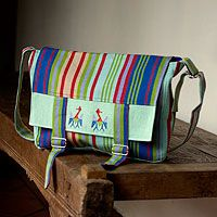 Cotton messenger bag, 'Summer Herons'