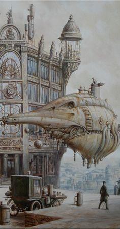 Paintings by Vadim Voitekhovitch Steampunk Airship, Dieselpunk, Sci Fi Fantasy, Fantasy World, Punk Art, Retro Futurism, Sci Fi Art, Zeppelin, Cyberpunk