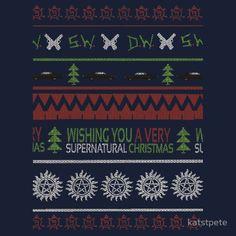 Supernatural Christmas Sweater by katstpete  Unisex size XL, black