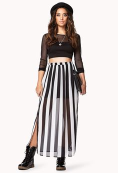 Vented Striped Maxi Skirt | FOREVER21 - 2000074734
