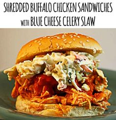 Shredded Buffalo Chicken Sandwich with Blue Cheese Celery Slaw