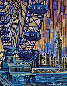 London Eye, Big Ben, River Thames, London print 8x10 by Anastasia Mak