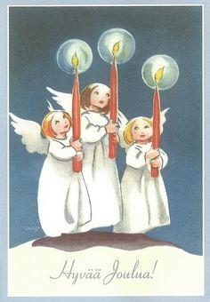 Jouluvisaa Retro Christmas, Vintage Christmas Cards, Vintage Holiday, Christmas Angels, Xmas Cards, Vintage Cards, Christmas And New Year, Christmas Holidays, Girl Face Drawing