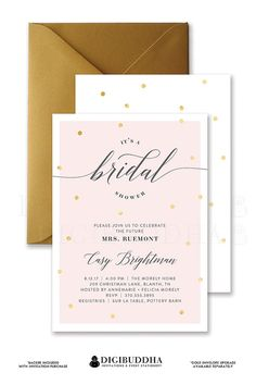 Blush Pink Bridal Shower Invitation or wedding invitation with Gold foil Dots and beautiful feminine calligraphy for the Soon-To-Be-Mrs available at digibuddha.com