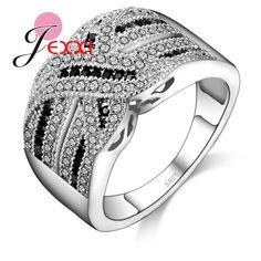 Patico mujeres de lujo de la boda anillos de compromiso 100% 925 joyería de plata esterlina cz anillo de cristal de joyería fina de la vendimia
