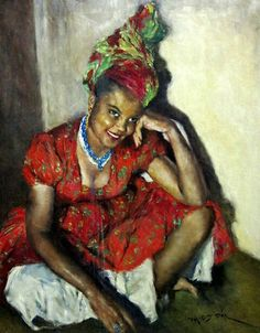 """Oil Painting titled, """"Jamaican Girl"""" by deceased Hungarian artist, Pál Fried."""