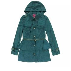 Betsy Johnson M Teal color coat . Size M. Betsy Johnson . The bottom half of this coat can zip off . 2 front pockets. Ruffles on the bottom . Heart shaped buttons . ❤️suggested user ⚡️fast shipping 🌟top rated seller Betsey Johnson Jackets & Coats