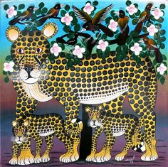 Cheetah Family, by Mbuka (Tingatinga Art).