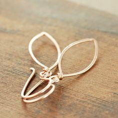 Rose Gold Leaf Earrings 14k Gold Fill Leaves Modern by aubepine