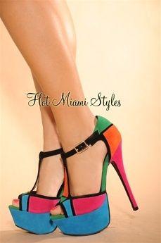 Heels Over Heels 46 99 Fuchsia Heel Multi Color Block Open Toe Sandals 5 |2013 Fashion High Heels|