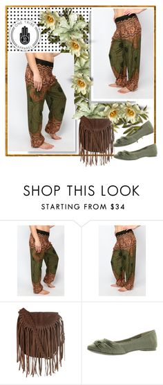 """""""Forest Sunburst Honey Hive Harem Pants 8"""" by car69 ❤ liked on Polyvore featuring Glamorous, Rocket Dog, women's clothing, women's fashion, women, female, woman, misses, juniors and OneTribeApparel"""