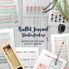 Bullet journal printable stickers package - now with new pages and 2017 calendar!