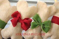 DOG / PET Christmas Stocking, Unique burlap holiday stocking for pets, Natural burlap bow