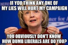 If you think any one of my lies will hurt my campaign, you obviously don't how dumb Liberals are, do you?