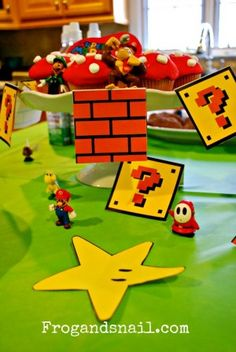 7 diy ideas for super mario theme party (with links to printables and inspiration) Mario Birthday Party, 5th Birthday Party Ideas, Boy Birthday Parties, Birthday Fun, Super Mario Brothers, Mario Bros, Princess Peach Party, Super Mario Party, Childrens Party