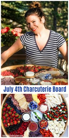 How to Make an Epic July Charcuterie Board with red, white, and blue details for the best cheese board! Delicious for Memorial Day or summer holidays! Party Food Platters, Party Trays, Food Trays, Charcuterie And Cheese Board, Charcuterie Platter, Cheese Boards, Charcuterie Ideas, Fourth Of July Food, July 4th