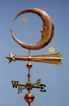 Our Moon Stars Weathervane features the Man in the Moon, complete with your choice of colored translucent glass eyes, two stars in close proximity to the moon and a shooting star (or comet). Depending on your preference, the two stars in close
