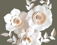 Beautiful paper flower backdrop. Backdrop includes 3 flowers between 12-18 inches and a variety of leaves. This backdrop would look amazing at your next event.  Send a message with your color choice upon checkout.  Please send a message if you plan to purchase more than one set and I will combine shipping.  I welcome custom orders!  You can check out another popular backdrop here: https://www.etsy.com/listing/272829416/paper-flower-backdrop-wedding?ref=shop_home_...