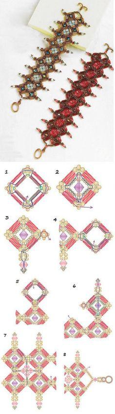 Beaded bracelet DIY / Плетем из бисера широкий браслет