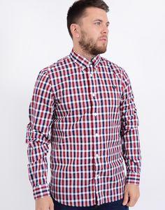 45e4b2778 Fred Perry Long Sleeved Herringbone Gingham Shirt Deep Red