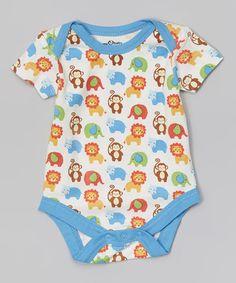 Look what I found on #zulily! Blue & White Safari Organic Bodysuit - Infant by My O Baby #zulilyfinds