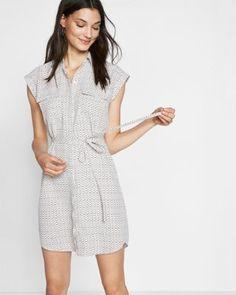 petite micro print short sleeve pocket shirt dress