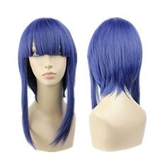 Prettymart Cosplay Wig 50cm Lang Blue Violett Heat Resistant Hair -- Click image for more details.