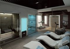 hotel spa Hotel gyms equipment and machines - Technogym Hotel Gym, Hotel Pool, Hotel Interiors, Office Interiors, Modern Saunas, Gym Interior, Sauna Room, Spa Rooms, Spa Design