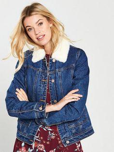 V By Very Faux Fur Lined Denim Trucker Jacket - Indigo, Indigo, Size Women - Indigo - 20 Faux Fur Collar, Fall Looks, Jacket Style, Fur Trim, Indigo, Black Jeans, Denim, Coat, How To Wear