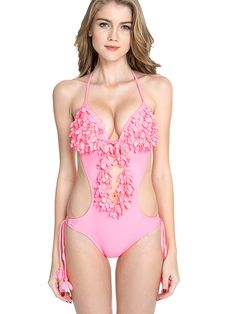 #AdoreWe #JustFashionNow One-piece - Designer COLLOYES Pink Solid Halter Applique One-piece - AdoreWe.com