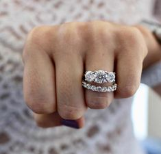 Our impressive blue diamond engagement ring set, from Camellia Jewelry, will take her breath away. Custom handcrafted in the finest detail, this flower engagement ring features a round cut blue diamond stone beautifully set in a solid white & rose gol 3 Stone Engagement Rings, Engagement Ring Settings, Engagement Bands, Engagement Ideas, Oval Engagement, Wedding Engagement, Diamond Wedding Bands, Diamond Rings, Three Stone Diamond Ring