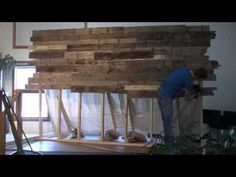 Pallet Wall - YouTube (TURN DOWN VOLUME)  (I think this would be great as a store display wall too - A.F.)
