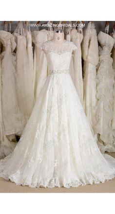 Fairly Tale Illusion Neckline Vintage Alencon Lace A-line Wedding Dress