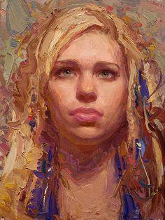 """Alayna"" - Scott Burdick (b.1967), oil on canvas, 2008 {figurative #impressionist artist beautiful blonde female head woman face portrait #impasto texture painting #loveart} <3 scottburdick.com"