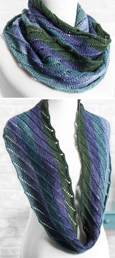 Knitting Pattern for Easy One Row Ashley Cowl - I'm knitting this pattern now so I can testify that it's very easy. This infinity scarf cowl is knit with just one row repeated in the round with a one stitch offset so the eyelets form diagonal lines. Great for cake yarn or multicolored yarn. Designed by Patty Nance.