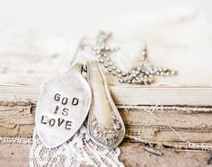 """Handmade Spoon Necklace """"God is Love"""""""
