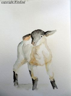 "'THE FARM NURSERY - Little Lamb"" (5th of series).Baby Lamb painting original watercolor sheep nursery by 4WitsEnd, via Etsy"
