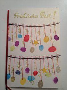 Weihnachtskarte mit Kindern basteln/ Fingerabdruck