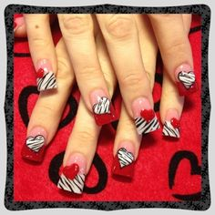 Zebra hearts - nail art gallery nails valentine nail art, na Cute Nail Art, Beautiful Nail Art, Gorgeous Nails, Fabulous Nails, Heart Nail Art, Heart Nails, Heart Ring, Fingernail Designs, Gel Nail Designs