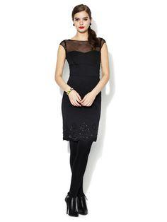 Alexia Admor Jeweled Mesh Yoke Dress