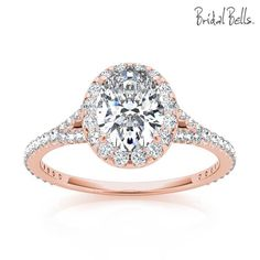 14K Rose Gold 2cttw Oval Shaped Halo Diamond Engagement Ring Love!!! If it was just yellow gold!